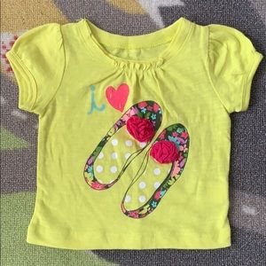 Other - Cherokee I Love Shoes Baby Shirt Lime Green 6m
